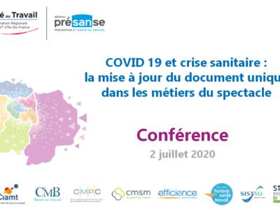 COVID 19 et crise sanitaire : la mise à jour du document unique dans les métiers du spectacle – Support en ligne