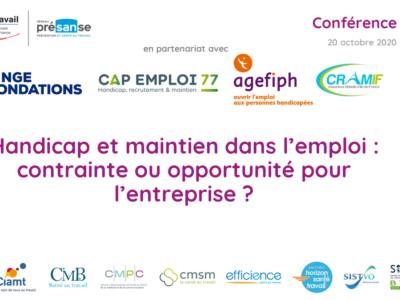 Handicap et maintien dans l'emploi :  contrainte ou opportunité pour l'entreprise ? – Support en ligne