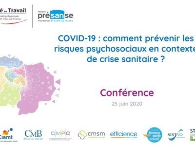 COVID-19 : comment prévenir les risques psychosociaux en contexte de crise sanitaire ?  Support en ligne