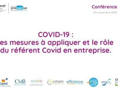 COVID-19 : les mesures à appliquer et le rôle du référent Covid en entreprise – Support en ligne