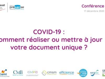 COVID-19 : comment réaliser ou mettre à jour votre document unique ? Support en ligne 17 décembre 2020