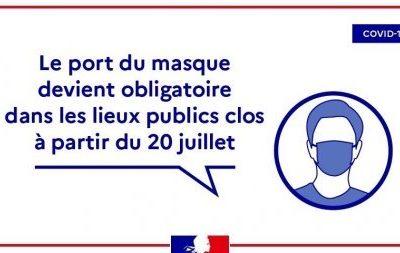 COVID-19 – Port du masque obligatoire à partir du 20 juillet 2020